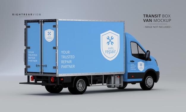 Maqueta de furgoneta de caja de tránsito desde la vista trasera derecha