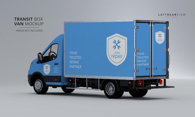 Maqueta de furgoneta de caja de tránsito desde la vista trasera izquierda