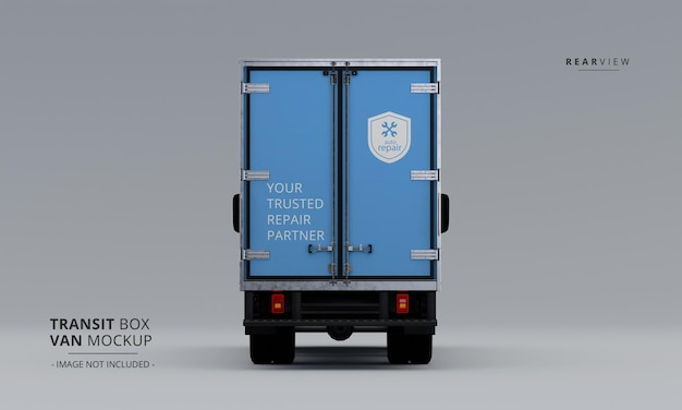 Maqueta de furgoneta de caja de tránsito desde la vista trasera