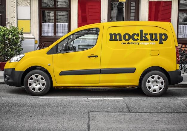 Maqueta de furgoneta de carga de entrega de automóviles comerciales