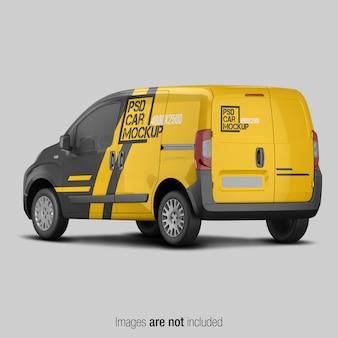 Maqueta de furgoneta de entrega amarilla y negra