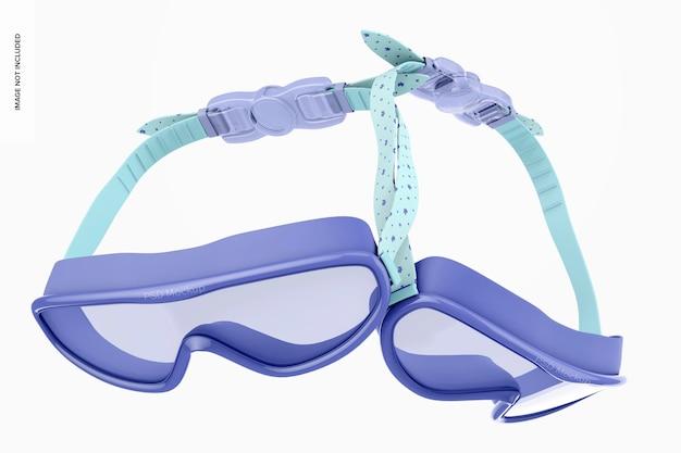 Maqueta de gafas de natación, flotante