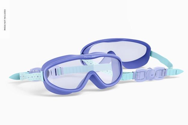 Maqueta de gafas de natación, vista frontal y posterior
