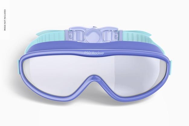 Maqueta de gafas de natación, vista frontal