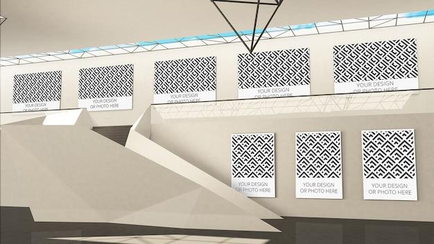 Maqueta de la galería de exposiciones con marcadores de posición de imágenes