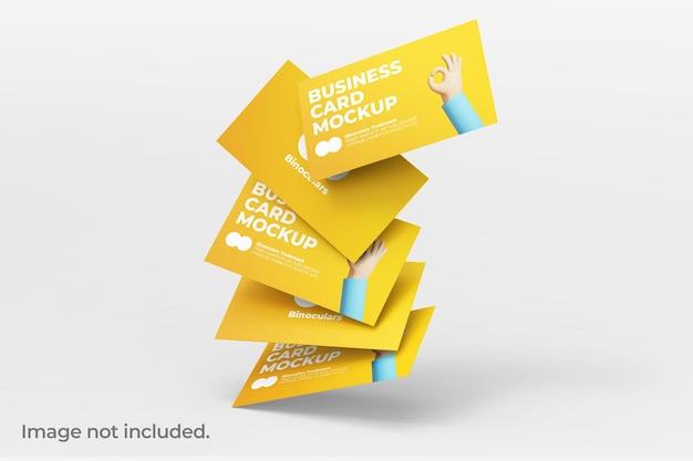 Maqueta de grupo cayendo de tarjetas de visita modernas y limpias