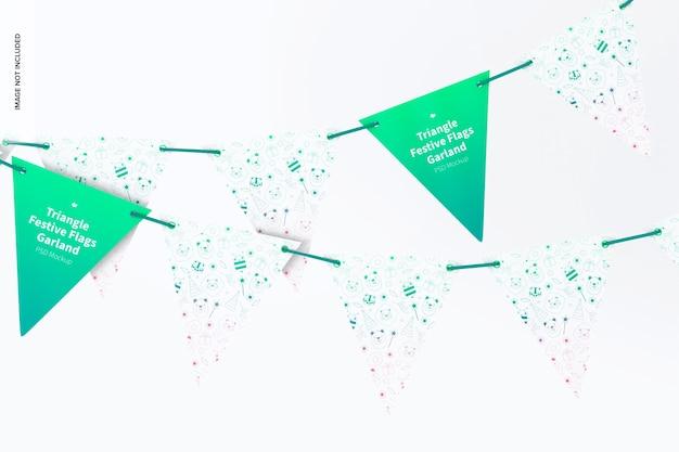 Maqueta de guirnalda de banderas festivas de triángulo