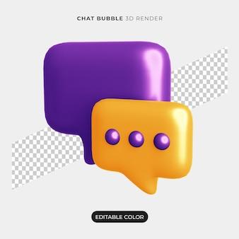 Maqueta de icono de burbuja de chat 3d aislado