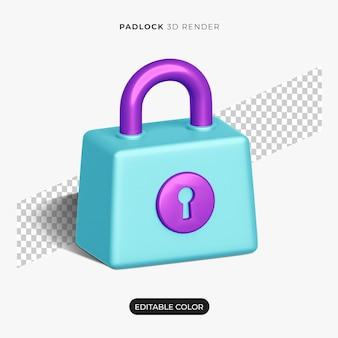Maqueta de icono de candado 3d aislado