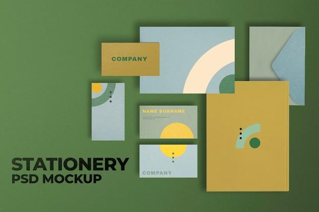 Maqueta de identidad corporativa retro psd conjunto de papelería de marca