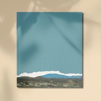 Maqueta de impresión en lienzo de una cadena montañosa mínima.