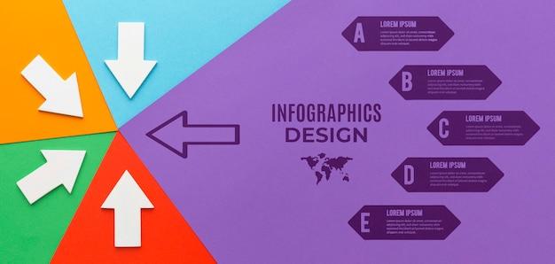 Maqueta de infografía con diferentes flechas dirigidas