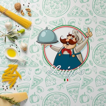 Maqueta ingredientes para plato italiano