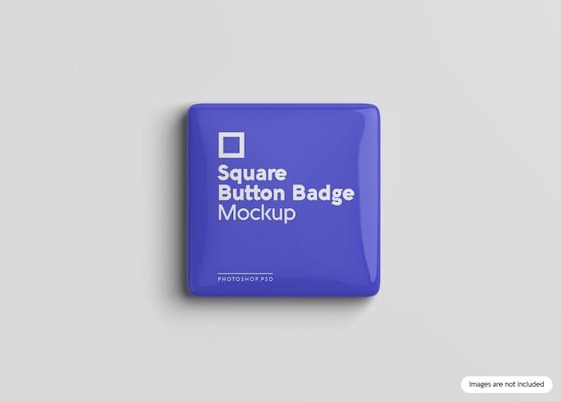 Maqueta de insignia de botón cuadrado