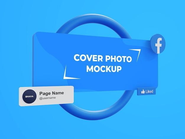 Maqueta de interfaz 3d de portada de página e imagen de perfil