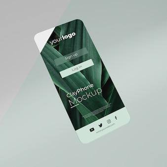 Maqueta de la interfaz de la aplicación en la composición de la pantalla del teléfono