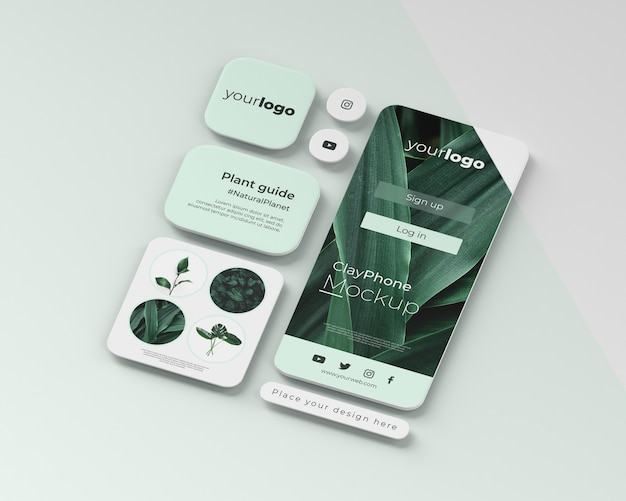 Maqueta de la interfaz de la aplicación en la pantalla del teléfono