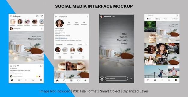 Maqueta de interfaz de noticias y noticias de instagram