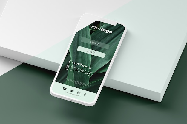 Maqueta de interfaz en la pantalla del teléfono