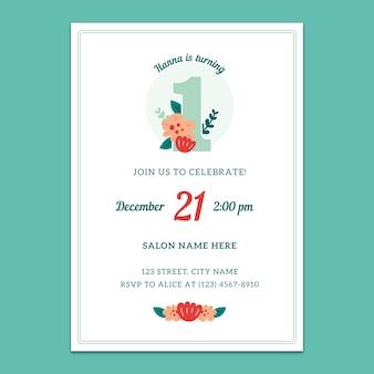 Maqueta de invitación para el 1º cumpleaños
