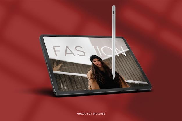 Maqueta de ipad digital con bolígrafo elegante