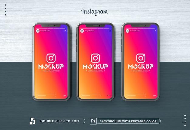 Maqueta de iphone 3d instagram story
