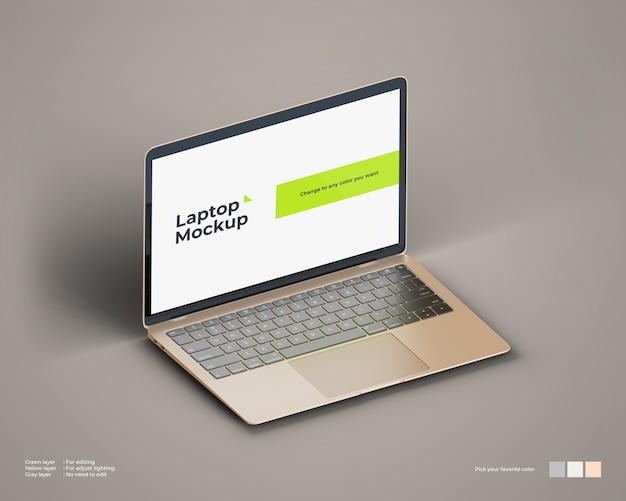 La maqueta isométrica para computadora portátil se ve a la izquierda