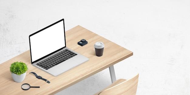 Maqueta isométrica de laptop en escritorio de oficina