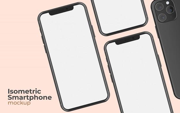 Maqueta isométrica de teléfono inteligente