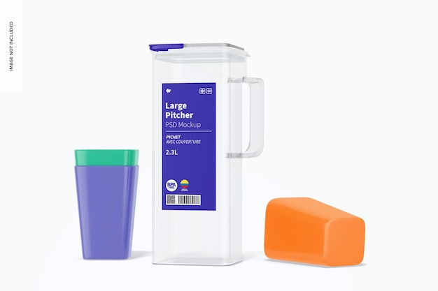 Maqueta de jarra grande con tapa con vasos