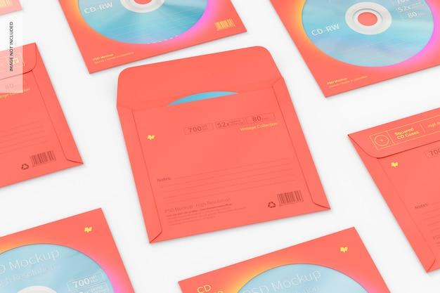 Maqueta de juego de cajas de cd cuadradas