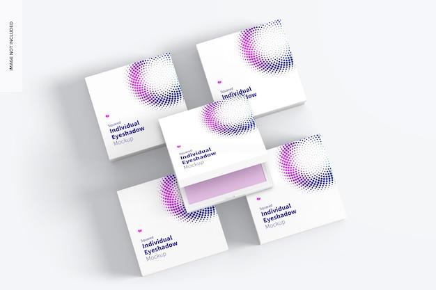 Maqueta de juego de sombras de ojos individuales cuadradas