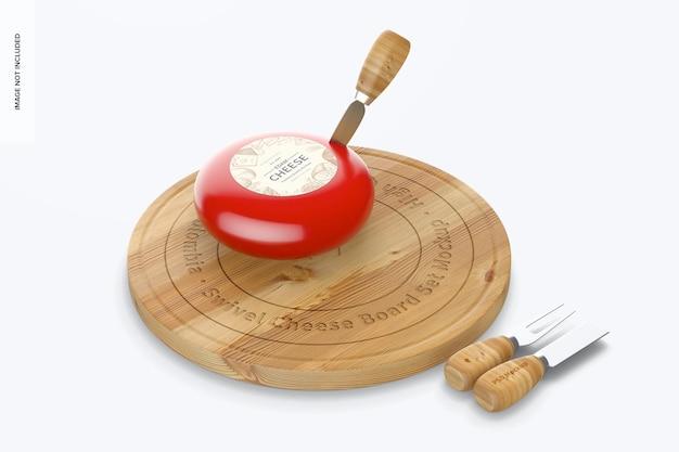 Maqueta de juego de tabla de queso giratoria, vista izquierda