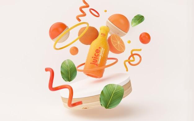 Maqueta de jugo de naranja fresco en una escena de verano