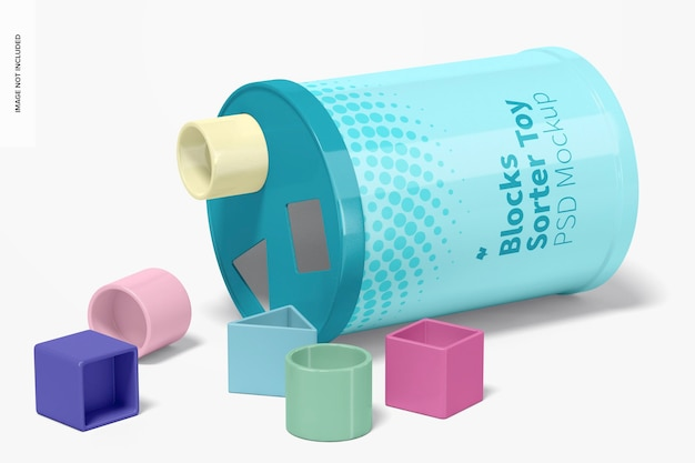 Maqueta de juguete clasificador de bloques, vista derecha