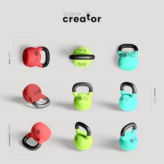 Maqueta de kettlebells coloridos
