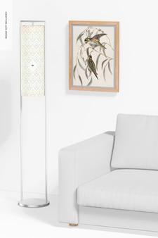 Maqueta de lámpara con marco de hierro de pie, perspectiva