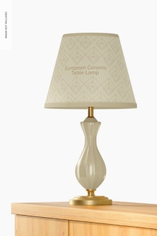 Maqueta de lámpara de mesa de cerámica europea, perspectiva