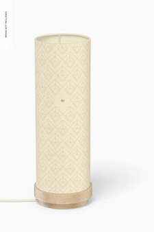 Maqueta de lámpara de mesa redonda de madera