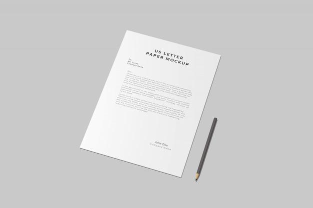 Maqueta de lápiz y papel de carta estadounidense