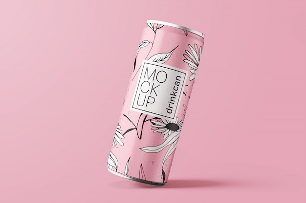 Maqueta de lata de bebida de aluminio larga