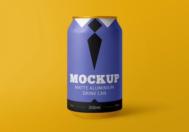 Maqueta de lata de bebida de aluminio mate de 350 ml