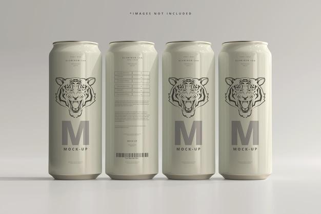 Maqueta de lata de cerveza o refresco elegante de 500 ml