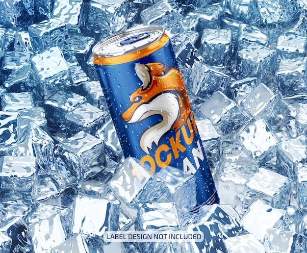 Maqueta de lata metálica con gotas y hielo