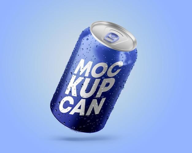 Maqueta de lata metálica con gotas