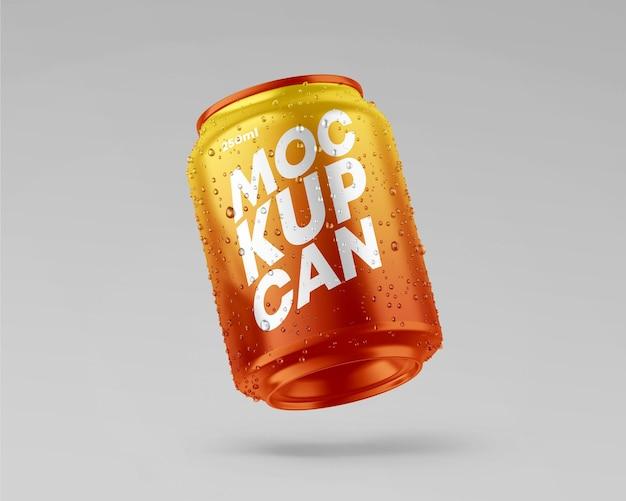 Maqueta de lata metálica pequeña con gotas
