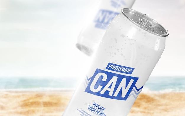 Maqueta de lata de publicidad de verano