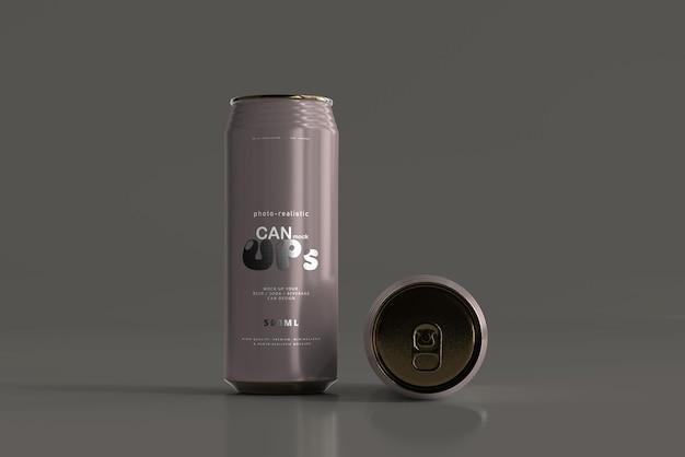 Maqueta de lata de refresco elegante de 500 ml