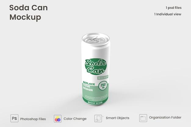 Maqueta de lata de refresco de metal premium psd