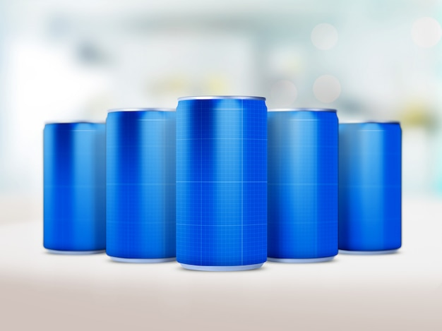 Maqueta de latas de bebida